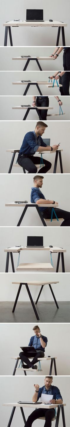 This unique piece of furniture is WEE! and it certainly looks like a rather fun method of introducing a bit of movement into our lives! It beautifully merges together both a working desk and a playful swing to create an item of furniture that allows the user to stay both productive and active during their busy day!