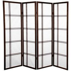 "Oriental Furniture 60"" Double Cross Shoji Screen 4 Panel Room Divider Finish:"