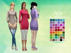 Maxine Sweater Dress• 54 Colors • Standalone & Custom Thumbnail •  Teen to Elder • Mesh by me Download Links under the cut! [[MORE]]DOWNLOAD: SimFileShare | Mediafire