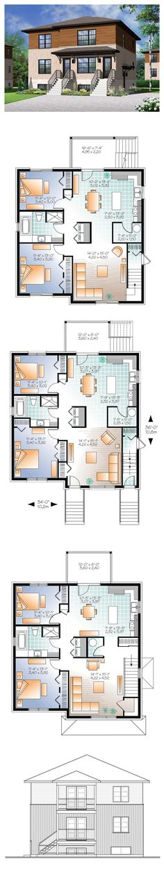Multi-Family Plan 76115 | Total Living Area: 3588 sq. ft. Two bedrooms and 1 bathroom in each unit. #triplexplan