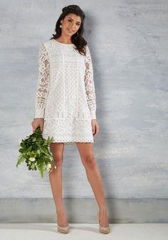 1960s wedding dress, short, Vow Do You Do Dress in White $200.00 AT vintagedancer.com