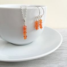 Carnelian July Birthstone Necklace Earring Set by DaintyRocksUK