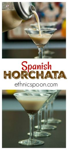 Horchata is a creamy, smooth sweet summer drink popular in Spain and Latin America. It is traditionally served cold in a tall glass without ice. Horchata is native to Valencia, a province in southern Spain. There it is prepared with tigernut (chufa), a crop of the sedge family. In Latin America, horchata is prepared with different base ingredients: from rice to almonds to barley. #horchata #spanish #drink #almond #rice #summerdrink #spain #valencia | ethnicspoon.com