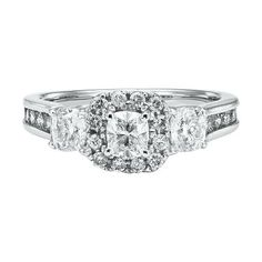 1 1/2 ct. tw. Three-Stone Diamond Ring in 14K Gold available at #HelzbergDiamonds