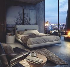 good color theme, headboard mural, rug, bedframe height and non edginess