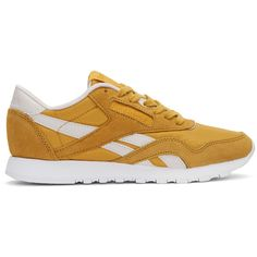 Reebok Classics Yellow FACE Edition Kindness Classic Sneakers featuring polyvore, women's fashion, shoes, sneakers, yellow, round cap, round toe shoes, round toe sneakers, low profile sneakers and cushioned shoes