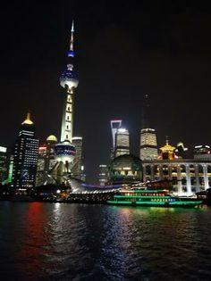 Riverside Promenade (Bingjiang Da Dao): Pudong night time from bund - Shanghai