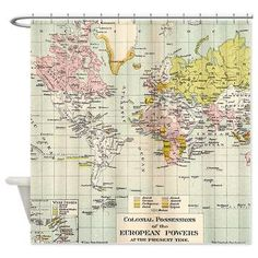 Vintage world map cotton linen fabric for curtain upholstery sold world map shower curtain colonial map home decor bathroom travel decor gumiabroncs Image collections