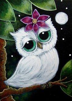 Art: TINY WHITE OWL - GIRLY OWL WITH A FLOWER by Artist Cyra R. Cancel