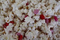 White Chocolate Covered Popcorn with Valentine's M  Chocolate covered popcorn is soooo good.