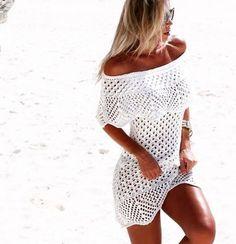 Vestido Praia Tricot Crochê Ciganinha Ombro A Ombro