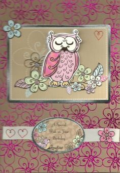 Pink foiled owl birthday card