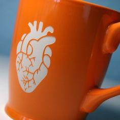 Anatomical Heart Mug - Tangerine Orange - anatomically correct coffee cup. $20.00, via Etsy.