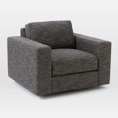heather tweed charcoal. down blend fill.  Urban Swivel Chair
