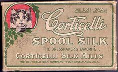 Corticelli spool silk with cat design