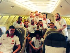 Manchester United players travel to the #USA for their 2015 tour. #MUTour2015