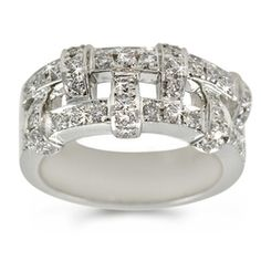 Diamond Woven Ring in 18k White Gold