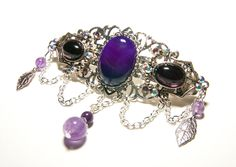Barrette féerique argentée agate violette, verre, améthyste et cristal