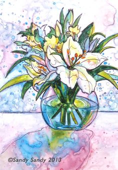 *SANDY SANDY ART*: Lilies in a Vase  - Original Fine Art for Sale  - $85.00 matted -  © Sandy Sandy  - See more about this painting here: http://www.sandysandyart.com/2013/04/daffodils-fair-vernal-flowers.html