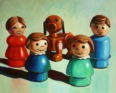 Custom Fisher Price Little People Family Portrait 8x10 Acrylic on Canvas. $110.00, via Etsy.