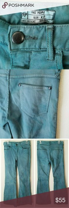 Free People High Rise 5 Pocket Flare Jeans 👖 Excellent condition! Terribly wrinkled from my closet 🙈.. But in great shape! Awesome jeans! They have a really cool distressed tie dye look to them! You'll never find another pair like it 😉.. Last photo is best pic for color! Free People Jeans Flare & Wide Leg