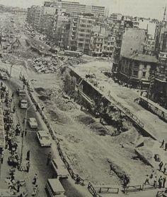 Yenikapı'yı Fatih'e ve Atatürk Bulvarı'na bağlayan Aksaray Alt-Üstgeçidi inşaatı (1969) #istanbul #istanlook