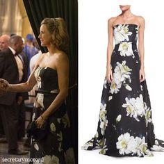 Tea Leoni // Carolina Herrera Strapless Gown W/Large Gardenia-Print Exact