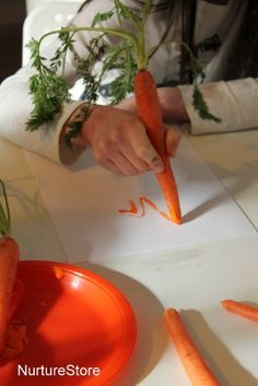 Writing, painting and printing with carrots :: Easter crafts - NurtureStore Easter art with carrots Nursery Activities, Farm Activities, Spring Activities, Preschool Activities, Autumn Eyfs Activities, Colour Activities Eyfs, Preschool Farm Crafts, Food Activities For Toddlers, Harvest Activities