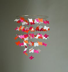 Medium Pink Orange and White Butterfly Swarm by CloudPop on Etsy, $54.00