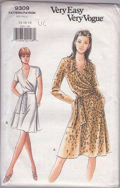 MOMSPatterns Vintage Sewing Patterns - Vogue 9309 Retro 90's Sewing Pattern FANTASTIC Very Easy Diane Von Furstenberg Style V Neck or Collared Flared Skirt Wrap Around Dress & Tei Belt Size 14-18