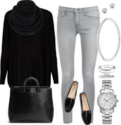 Mis combinaciones diarias: Blusa Negra Jean Gris Claro