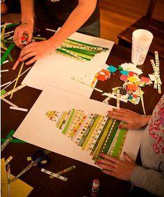 C'est une façon très simple de construire un sapin en collage pour les enfants. Si en plus vous y ajoutez un travail sur la mesure, sur le...