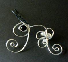 Épingle à chignon perles noires et blanches