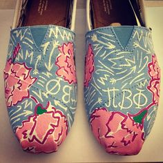 Painted Toms for my friend who's a Pi Phi!
