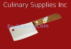 Kiwi #504 Mini Cleaver, Wooden handle : Culinary Supplies Knives Garnish Tools Fruit Carving Supplies
