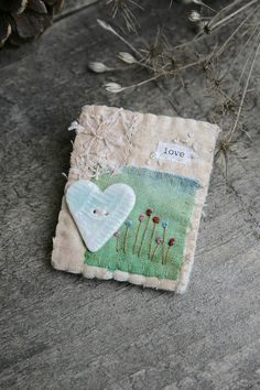 Heart Brooch Textile Brooch Fabric Brooch Textile Art