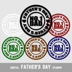 Digital Stamps Father's Day No.1 Dad - Digital Clip Arts | DigitalBazaar - Graphics on ArtFire