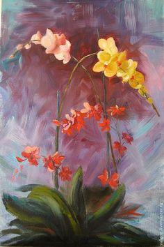 Купить или заказать Орхидеи. Картина маслом в интернет-магазине на Ярмарке Мастеров. Чудесные ароматные орхидеи. К нам сойдя из таинства сказок В дивном парке цветут орхидеи. Бал цветов всех оттенков и красок... Как невесты, от скромности рдея. Восхищаюсь природы искусством, Что создала для нас орхидею, Волю дав своим краскам и чувствам, Мастерством в совершенстве владея. Чудесный подарок.