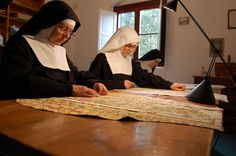 The Lord tenderly loves those who have the happiness of abandoning themselves totally to the fatherly care of Divine Providence. - St. Francis de Sales  Photo - Sisters Adorers at work restoring and making liturgical vestments