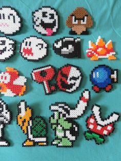 Nintendo+Super+Mario+Perler+Bead+Magnets+Choose+by+PorcupineSpines,+$15.00