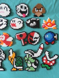 Nintendo+Super+Mario+Perler+Bead+Magnets+Choose+by+PorcupineSpines,+$15.00