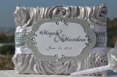 Silver Bling wedding Guest  book Silver Satin Rosette and bling monogram by ForeverLoveNotes, $75.00