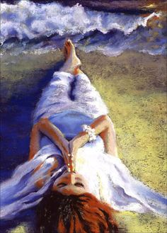 Spiritual Art Print  Meditation Ocean  woman by AlisaPaints