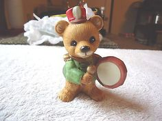 """Vintage Homco # 5553 Bear Playing The Drum Ornament """" BEAUTIFUL COLLECTIBLE ITEM #vintage #collectibles #ceramics #home"""