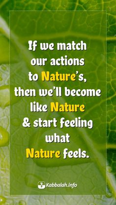 If we match our actions to Nature's, then we'll become like Nature & start feeling what Nature feels. #quote #quoteskabbalahinfo #wisdomquote #nature  Get started with #LIVE Kabbalah course => http://www.kabbalah.info/bb/kr/?utm_source=pinterest&utm_medium=link&utm_campaign=krgeneral
