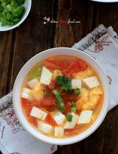 tofu egg soup with tomatoes -- like UTown seafood soup?