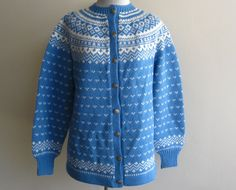 Vintage 60s Sweater Blue Norwegian Wool Hand Knit Cardigan Sweater