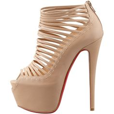 LOVE THEM! Christian Louboutin Zoulou Strappy Platform Red Sole Sandal, Corde ($1,395) ❤ liked on Polyvore