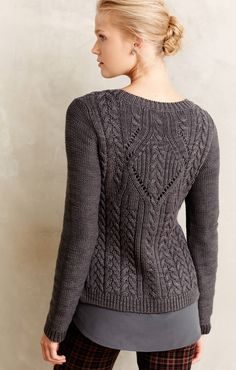 I like the idea of interrupting the traditional vertical cable bands with a medallion. cabled knit jumper - Anthropologie (2)