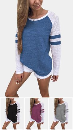 Spell Color Round Neck Long Sleeves T-shirt